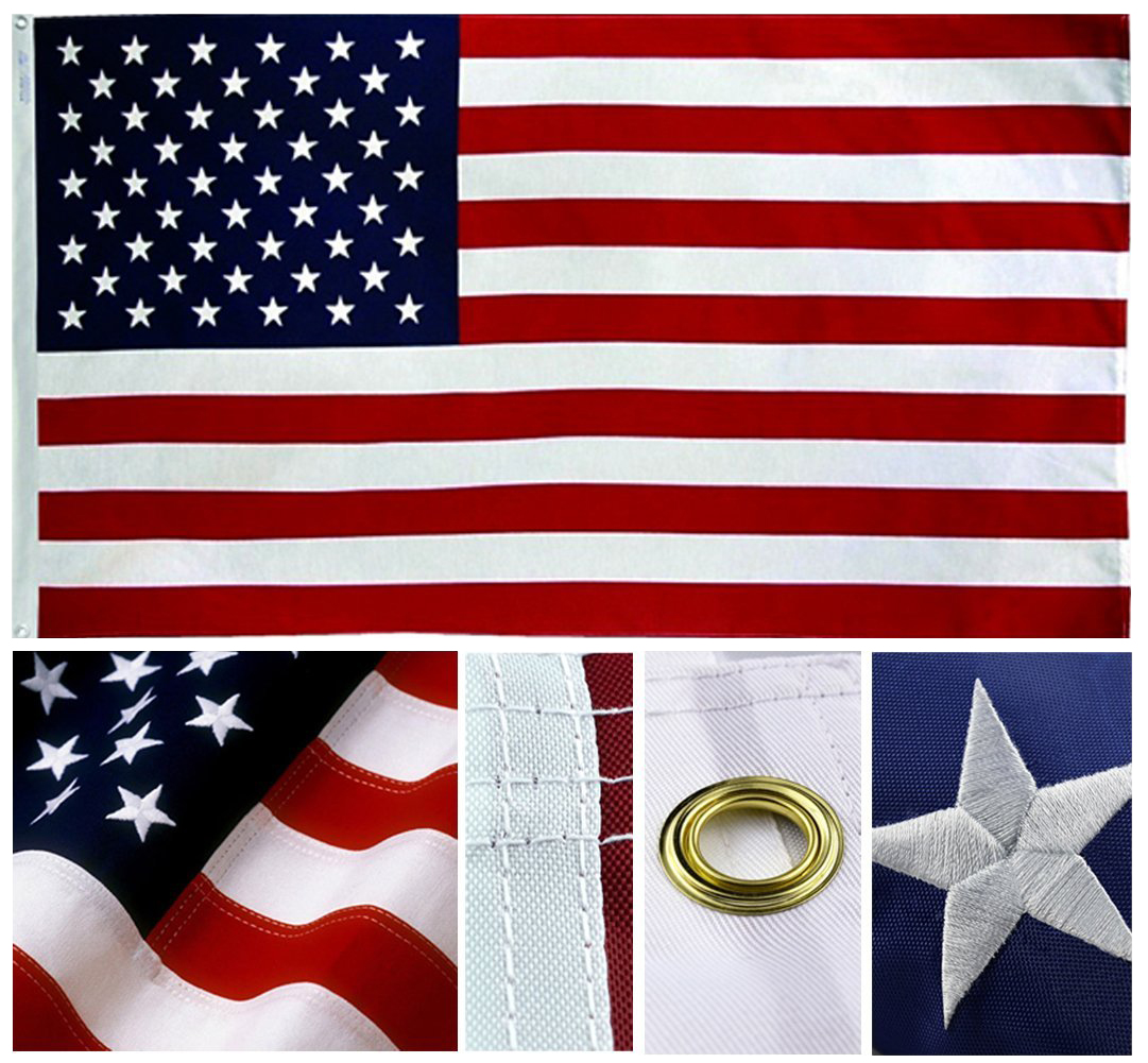 Shop72 USA American Flag 5x8' Sewn Stripes, Embroidered Stars and Brass Grommets - Oxford Nylon
