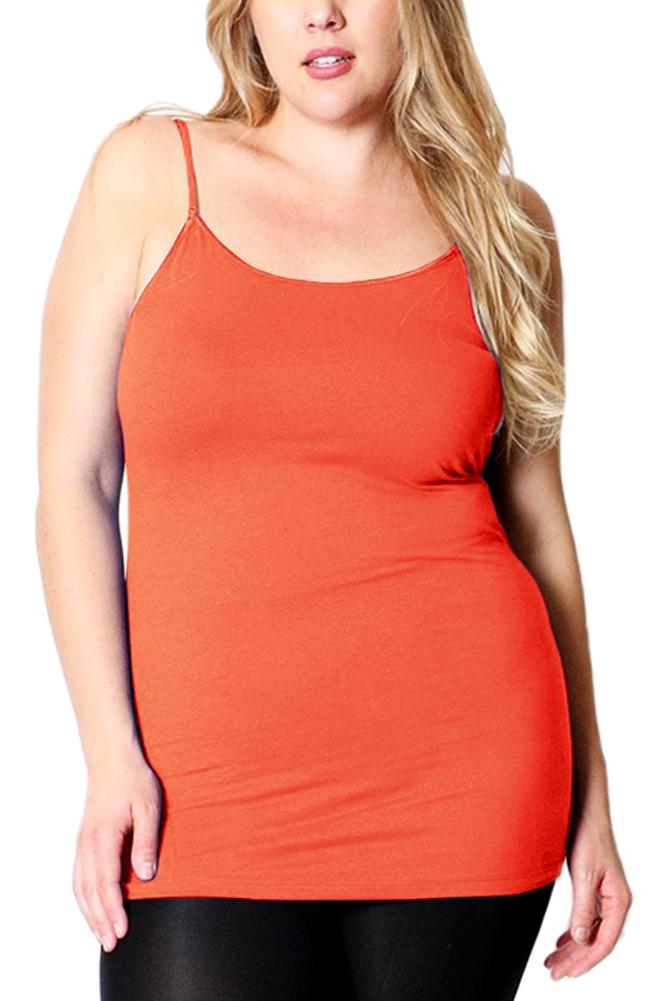 Belle Donne Women's Plus Size Stretch Camisole Spaghetti Strap- Blush/3X-Large
