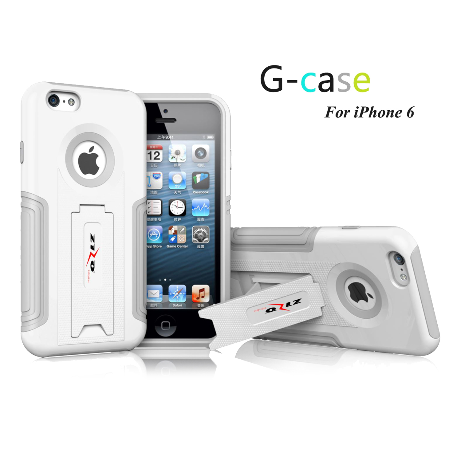 For iPhone 6 - GCASE PC + Gray TPU Combo Cover w/ Kickstand - White HYB