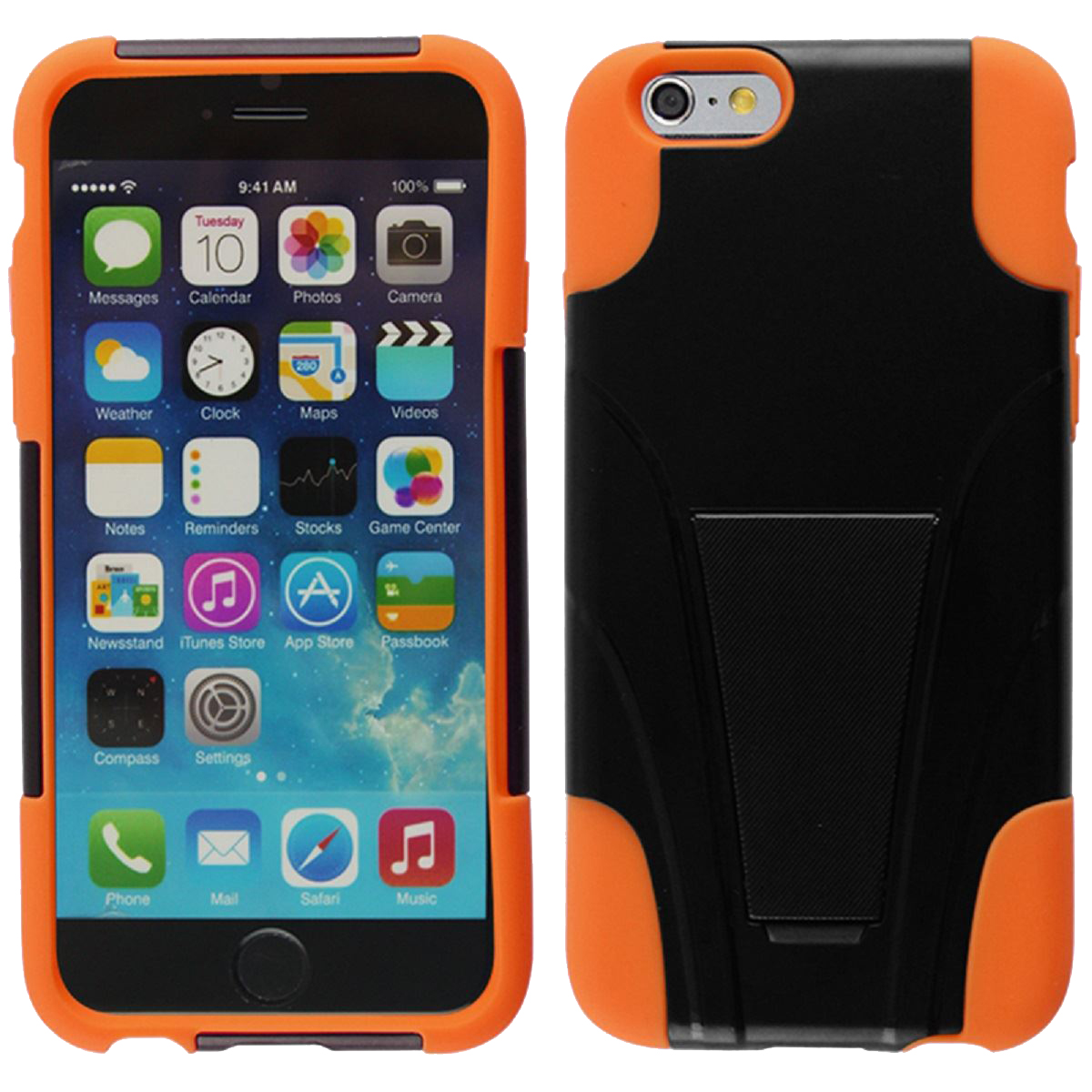HYBRID PC/SC Combo Cover With Kickstand For iPhone 6 - Orange HYB